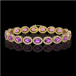13.11 CTW Amethyst & Diamond Bracelet Yellow Gold 10K Yellow Gold - REF-229N3A - 40885