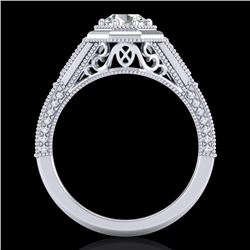 0.84 CTW VS/SI Diamond Solitaire Art Deco Ring 18K White Gold - REF-236F4N - 37091