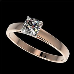 0.50 CTW Certified VS/SI Quality Cushion Cut Diamond Solitaire Ring 10K Rose Gold - REF-64F3N - 3296
