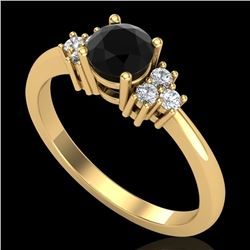 0.75 CTW Fancy Black Diamond Solitaire Engagement Classic Ring 18K Yellow Gold - REF-70W9H - 37585