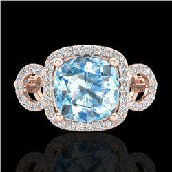 3.75 CTW Topaz & Micro VS/SI Diamond Certified Ring 14K Rose Gold - REF-54W9H - 23013