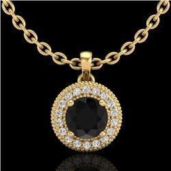 1 CTW Fancy Black Diamond Solitaire Art Deco Stud Necklace 18K Yellow Gold - REF-98X2R - 37662