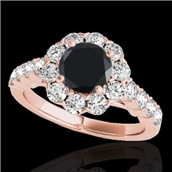 3 CTW Certified VS Black Diamond Solitaire Halo Ring 10K Rose Gold - REF-138X2R - 33557