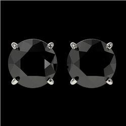 2 CTW Fancy Black VS Diamond Solitaire Stud Earrings 10K White Gold - REF-40A9V - 33083