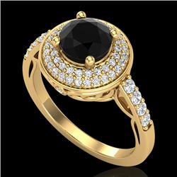1.70 CTW Fancy Black Diamond Solitaire Engagement Art Deco Ring 18K Yellow Gold - REF-143R6K - 38124