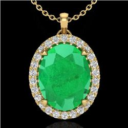 2.75 CTW Emerald & Micro VS/SI Diamond Halo Solitaire Necklace 18K Yellow Gold - REF-60K2W - 20588