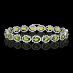 13.87 CTW Peridot & Diamond Bracelet White Gold 10K White Gold - REF-251Y6X - 40871