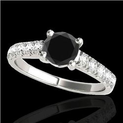 1.55 CTW Certified VS Black Diamond Solitaire Ring 10K White Gold - REF-58W4H - 35492