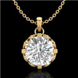 1.50 CTW VS/SI Diamond Solitaire Art Deco Stud Necklace 18K Yellow Gold - REF-363K5W - 36847
