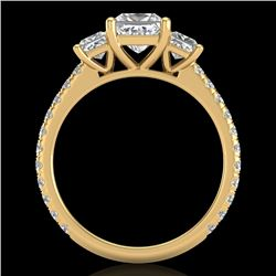 2.14 CTW Princess VS/SI Diamond Art Deco 3 Stone Ring 18K Yellow Gold - REF-454Y5X - 37207