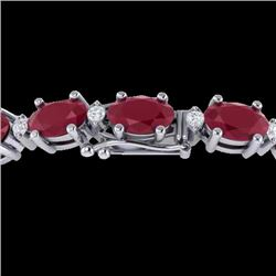 23.5 CTW Ruby & VS/SI Certified Diamond Eternity Bracelet 10K White Gold - REF-143Y6X - 29375