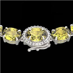 72 CTW Citrine & VS/SI Diamond Tennis Micro Pave Halo Necklace 14K White Gold - REF-281F8N - 23455