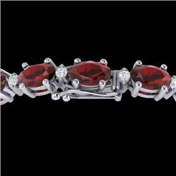 25.8 CTW Garnet & VS/SI Certified Diamond Eternity Bracelet 10K White Gold - REF-119H3M - 29452