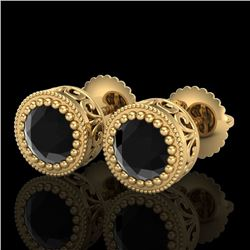 1.09 CTW Fancy Black Diamond Solitaire Art Deco Stud Earrings 18K Yellow Gold - REF-50X2R - 37480