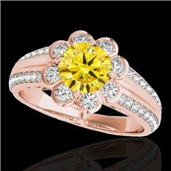 2.05 CTW Certified SI/I Fancy Intense Yellow Diamond Solitaire Halo Ring 10K Rose Gold - REF-318A2V