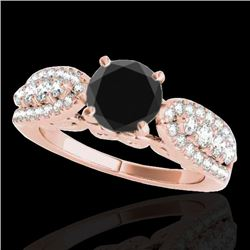 1.70 CTW Certified VS Black Diamond Solitaire Ring 10K Rose Gold - REF-89N6A - 35263