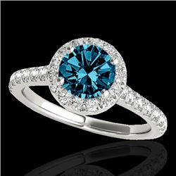 1.40 CTW SI Certified Fancy Blue Diamond Solitaire Halo Ring 10K White Gold - REF-160W2H - 33585