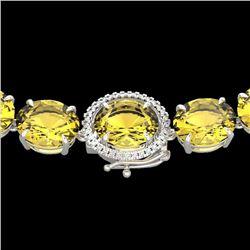 175 CTW Citrine & VS/SI Diamond Halo Micro Solitaire Necklace 14K White Gold - REF-535H5M - 22292