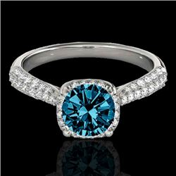 1.50 CTW SI Certified Fancy Blue Diamond Solitaire Halo Ring 10K White Gold - REF-177A6V - 33263