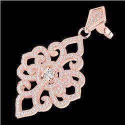 2.50 CTW Micro Pave VS/SI Diamond Certified Designer Earrings 14K Rose Gold - REF-236F4N - 22550