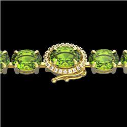 32 CTW Peridot & VS/SI Diamond Tennis Micro Pave Halo Bracelet 14K Yellow Gold - REF-154N4A - 23434