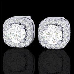 0.75 CTW Micro Pave VS/SI Diamond Earrings Designer Halo 18K White Gold - REF-69M6F - 21174