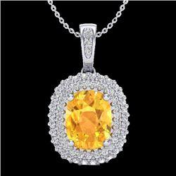 3 CTW Citrine & Micro Pave VS/SI Diamond Certified Halo Necklace 14K White Gold - REF-65H5M - 20411