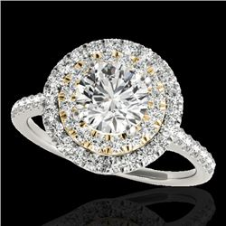 1.50 CTW H-SI/I Certified Diamond Solitaire Halo Ring 10K White & Yellow Gold - REF-163K6W - 33354