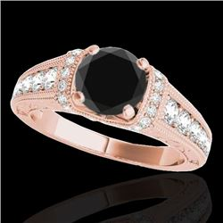 1.75 CTW Certified VS Black Diamond Solitaire Antique Ring 10K Rose Gold - REF-82H2M - 34787