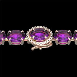 29 CTW Amethyst & VS/SI Diamond Tennis Micro Pave Halo Bracelet 14K Rose Gold - REF-117W3H - 23413