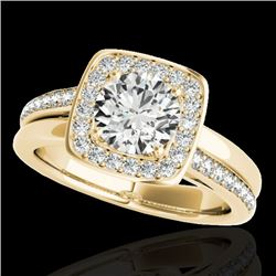 1.33 CTW H-SI/I Certified Diamond Solitaire Halo Ring 10K Yellow Gold - REF-176K4W - 34152