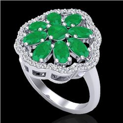 4 CTW Emerald & VS/SI Diamond Certified Cluster Designer Halo Ring 10K White Gold - REF-60M9F - 2077