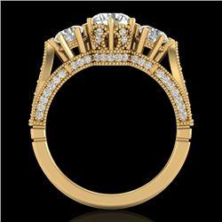 2.18 CTW VS/SI Diamond Art Deco 3 Stone Ring 18K Yellow Gold - REF-270W2H - 37249