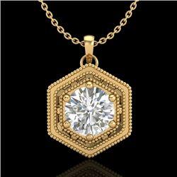 0.76 CTW VS/SI Diamond Solitaire Art Deco Necklace 18K Yellow Gold - REF-178H2M - 36904