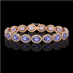 21.35 CTW Tanzanite & Diamond Bracelet Rose Gold 10K Rose Gold - REF-353X6R - 41004