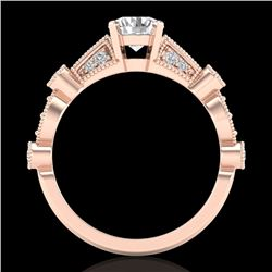 1.03 CTW VS/SI Diamond Solitaire Art Deco Ring 18K Rose Gold - REF-203R6K - 36972