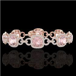 22 CTW Morganite & Micro VS/SI Diamond Certified Bracelet 14K Rose Gold - REF-575F5N - 23027