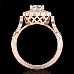 1.20 CTW VS/SI Diamond Solitaire Art Deco Ring 18K Rose Gold - REF-345V2Y - 37050