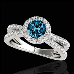 1.55 CTW SI Certified Fancy Blue Diamond Solitaire Halo Ring 10K White Gold - REF-178W2H - 33851