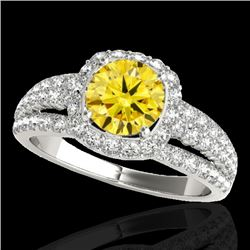 2 CTW Certified SI/I Fancy Intense Yellow Diamond Solitaire Halo Ring 10K White Gold - REF-180Y2X -