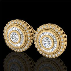 2.61 CTW VS/SI Diamond Solitaire Art Deco Stud Earrings 18K Yellow Gold - REF-381N8A - 37084