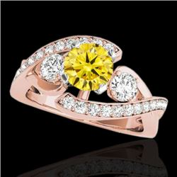 2.01 CTW Certified SI Intense Yellow Diamond Bypass Solitaire Ring 10K Rose Gold - REF-254K5W - 3505