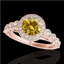 1.50 CTW Certified SI/I Fancy Intense Yellow Diamond Solitaire Halo Ring 10K Rose Gold - REF-178H2M