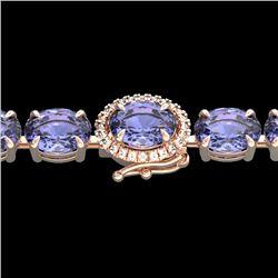 32 CTW Tanzanite & VS/SI Diamond Tennis Micro Halo Bracelet 14K Rose Gold - REF-328R9K - 23441