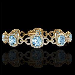30 CTW Topaz & Micro VS/SI Diamond Certified Bracelet 14K Yellow Gold - REF-368H9M - 23034