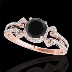 1.36 CTW Certified VS Black Diamond Solitaire Ring 10K Rose Gold - REF-67K3W - 35326