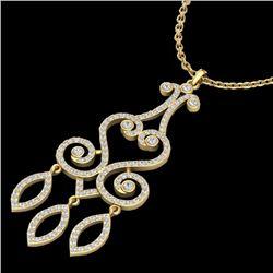 1.60 CTW VS/SI Diamond Certified Micro Pave Designer Necklace 14K Yellow Gold - REF-138H5M - 22421