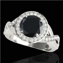 1.75 CTW Certified VS Black Diamond Solitaire Halo Ring 10K White Gold - REF-87R5K - 33270