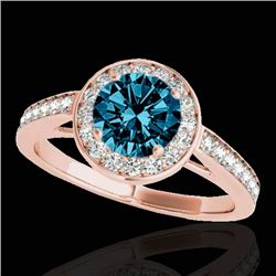 1.45 CTW SI Certified Fancy Blue Diamond Solitaire Halo Ring 10K Rose Gold - REF-169W3H - 33802