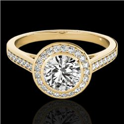 1.30 CTW H-SI/I Certified Diamond Solitaire Halo Ring 10K Yellow Gold - REF-168H4M - 33627